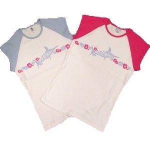 T-Shirt - Blue Marlin Logo Cap Sleeve Blue or Fuchsia